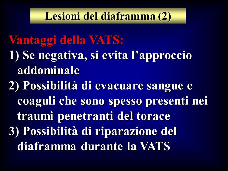 Vantaggi della VATS: 1) Se negativa, si evita lapproccio addominale 2) Possibilità di evacuare sangue e coaguli che sono spesso presenti nei traumi pe