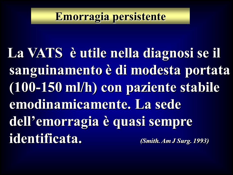 La VATS è utile nella diagnosi se il sanguinamento è di modesta portata (100-150 ml/h) con paziente stabile emodinamicamente. La sede dellemorragia è