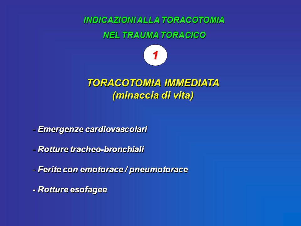 INDICAZIONI ALLA TORACOTOMIA NEL TRAUMA TORACICO 1 TORACOTOMIA IMMEDIATA (minaccia di vita) - Emergenze cardiovascolari - Rotture tracheo-bronchiali -