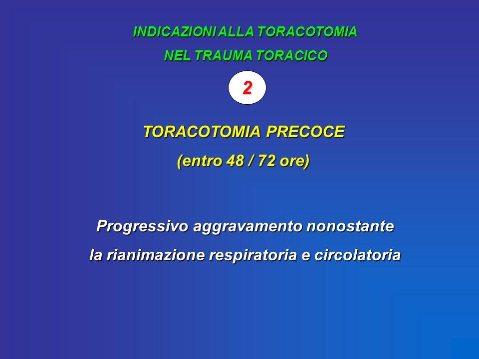 INDICAZIONI ALLA TORACOTOMIA NEL TRAUMA TORACICO 2 TORACOTOMIA PRECOCE (entro 48 / 72 ore) Progressivo aggravamento nonostante la rianimazione respira