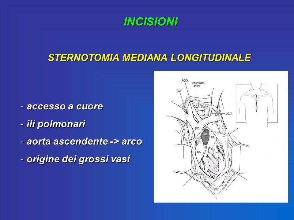 INCISIONI STERNOTOMIA MEDIANA LONGITUDINALE - accesso a cuore - ili polmonari - aorta ascendente -> arco - origine dei grossi vasi