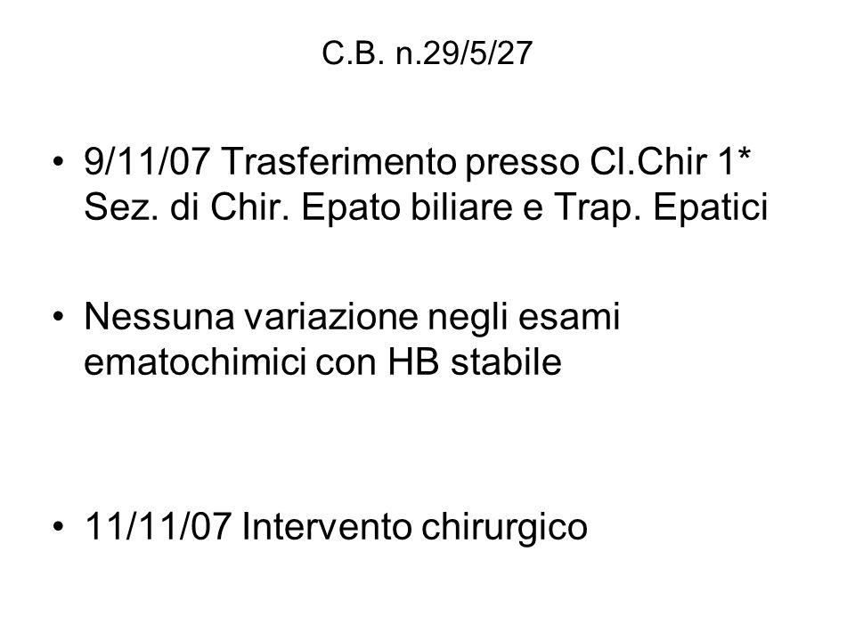 C.B. n.29/5/27 9/11/07 Trasferimento presso Cl.Chir 1* Sez. di Chir. Epato biliare e Trap. Epatici Nessuna variazione negli esami ematochimici con HB