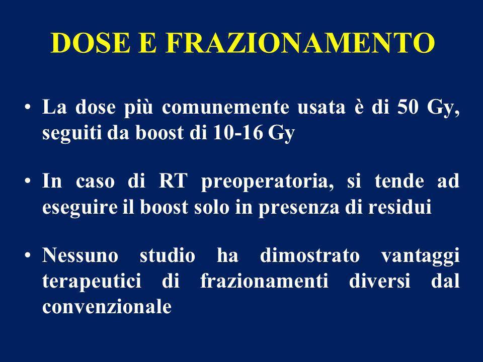DOSE E FRAZIONAMENTO La dose più comunemente usata è di 50 Gy, seguiti da boost di 10-16 Gy In caso di RT preoperatoria, si tende ad eseguire il boost