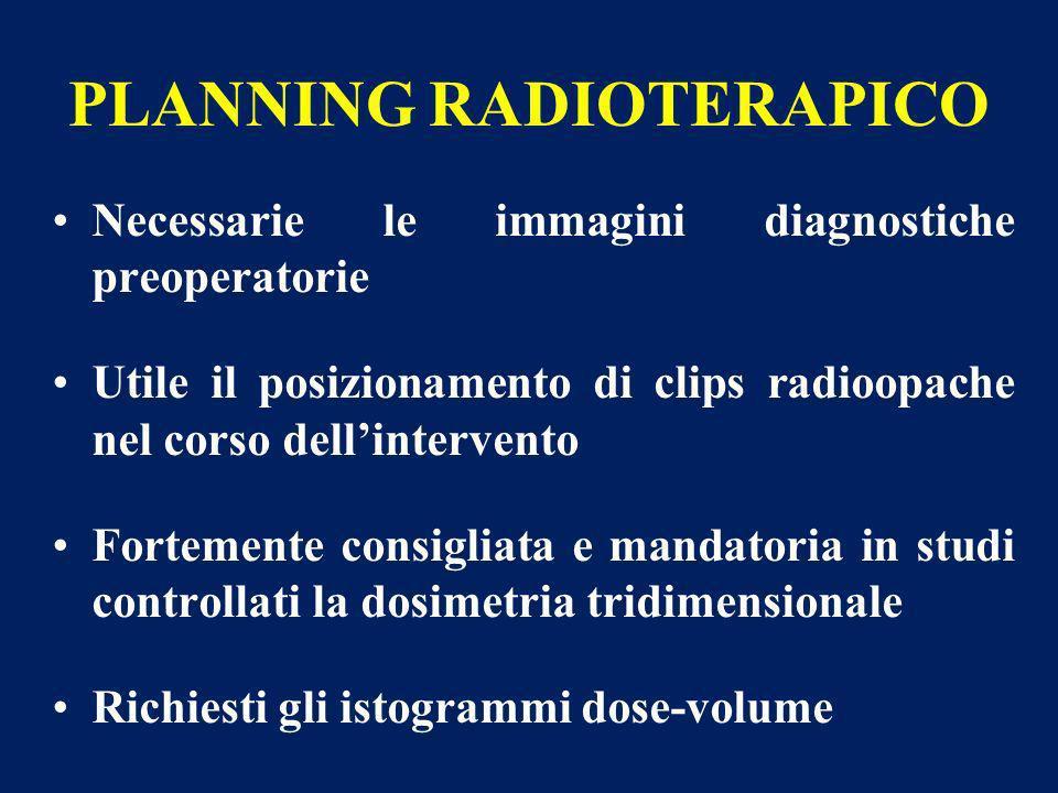 PLANNING RADIOTERAPICO Necessarie le immagini diagnostiche preoperatorie Utile il posizionamento di clips radioopache nel corso dellintervento Forteme