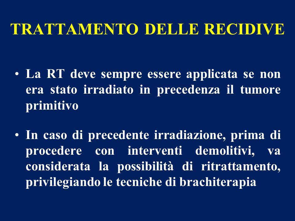 TRATTAMENTO DELLE RECIDIVE La RT deve sempre essere applicata se non era stato irradiato in precedenza il tumore primitivo In caso di precedente irrad