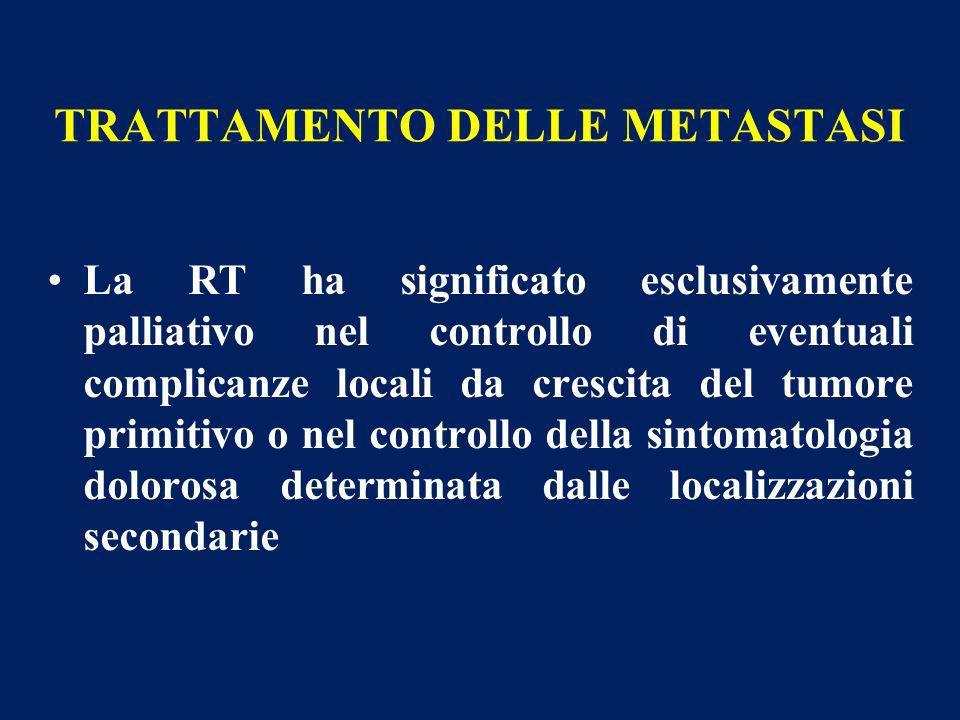 TRATTAMENTO DELLE METASTASI La RT ha significato esclusivamente palliativo nel controllo di eventuali complicanze locali da crescita del tumore primit