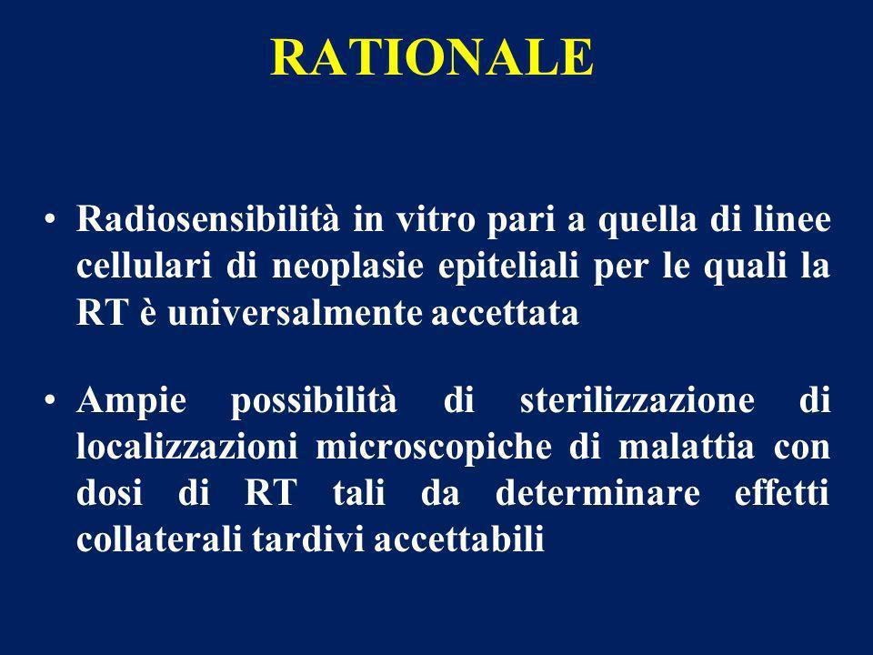 RATIONALE Radiosensibilità in vitro pari a quella di linee cellulari di neoplasie epiteliali per le quali la RT è universalmente accettata Ampie possi