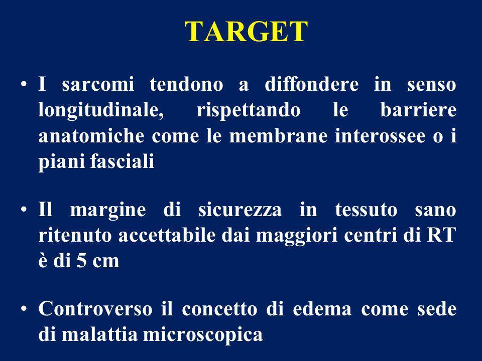 TARGET I sarcomi tendono a diffondere in senso longitudinale, rispettando le barriere anatomiche come le membrane interossee o i piani fasciali Il mar