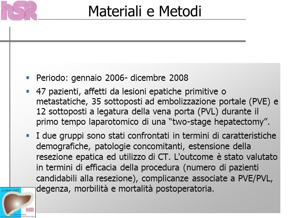 Periodo: gennaio 2006- dicembre 2008 47 pazienti, affetti da lesioni epatiche primitive o metastatiche, 35 sottoposti ad embolizzazione portale (PVE)