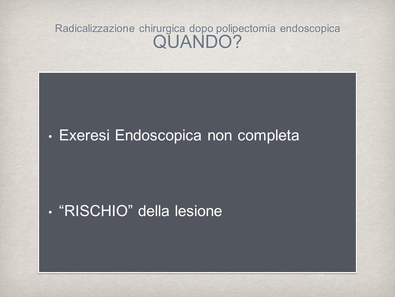 Radicalizzazione chirurgica dopo polipectomia endoscopica QUANDO? Exeresi Endoscopica non completa RISCHIO della lesione Exeresi Endoscopica non compl
