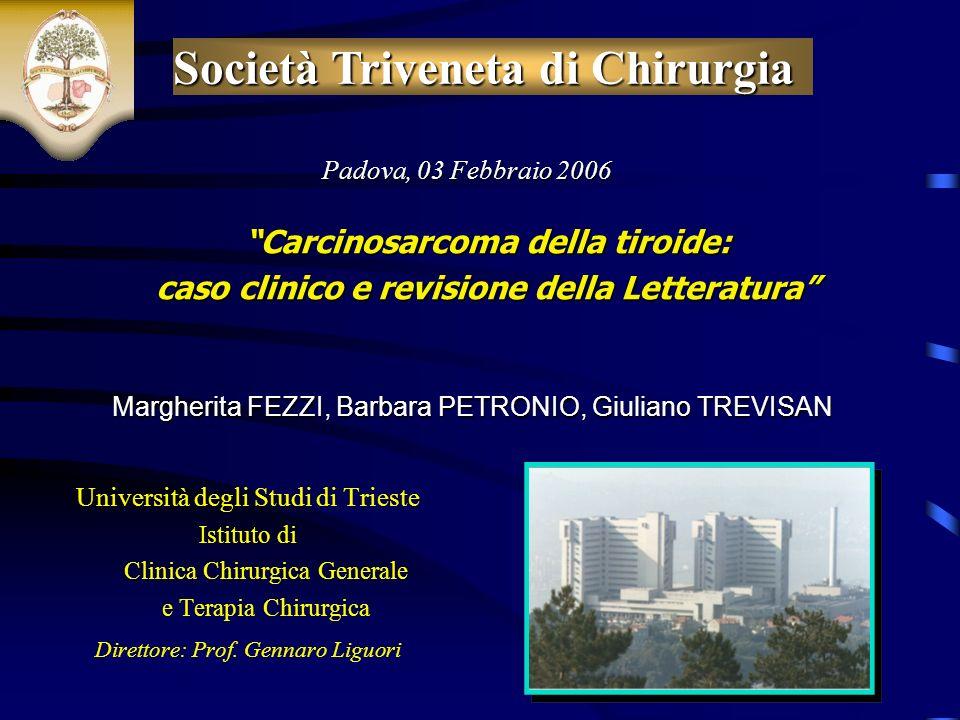 Università degli Studi di Trieste Istituto di Clinica Chirurgica Generale e Terapia Chirurgica Direttore: Prof.