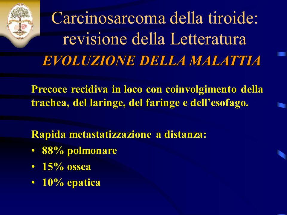 EVOLUZIONE DELLA MALATTIA Carcinosarcoma della tiroide: revisione della Letteratura Precoce recidiva in loco con coinvolgimento della trachea, del laringe, del faringe e dellesofago.