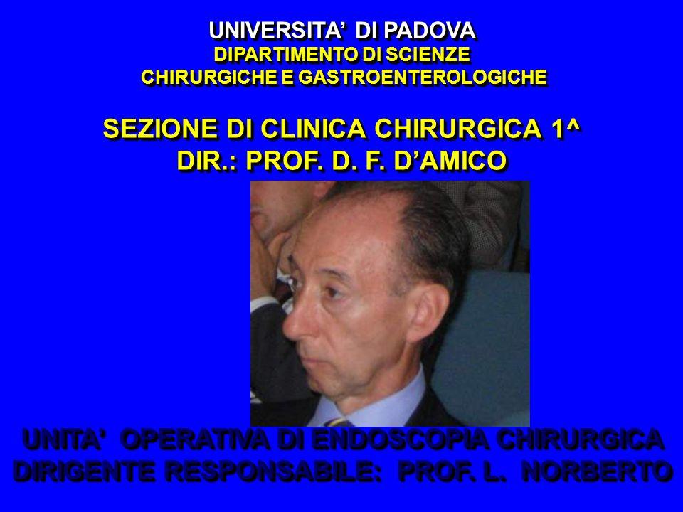 UNIVERSITA DI PADOVA DIPARTIMENTO DI SCIENZE CHIRURGICHE E GASTROENTEROLOGICHE SEZIONE DI CLINICA CHIRURGICA 1^ DIR.: PROF. D. F. DAMICO UNITA OPERATI