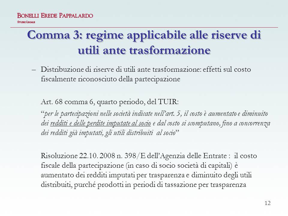 12 Comma 3: regime applicabile alle riserve di utili ante trasformazione –Distribuzione di riserve di utili ante trasformazione: effetti sul costo fiscalmente riconosciuto della partecipazione Art.