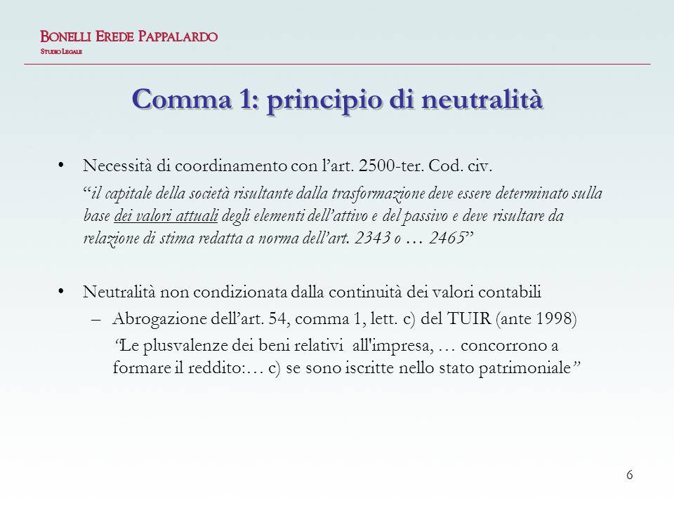 6 Comma 1: principio di neutralità Necessità di coordinamento con lart.