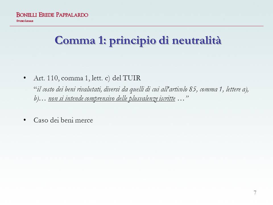 7 Comma 1: principio di neutralità Art.110, comma 1, lett.