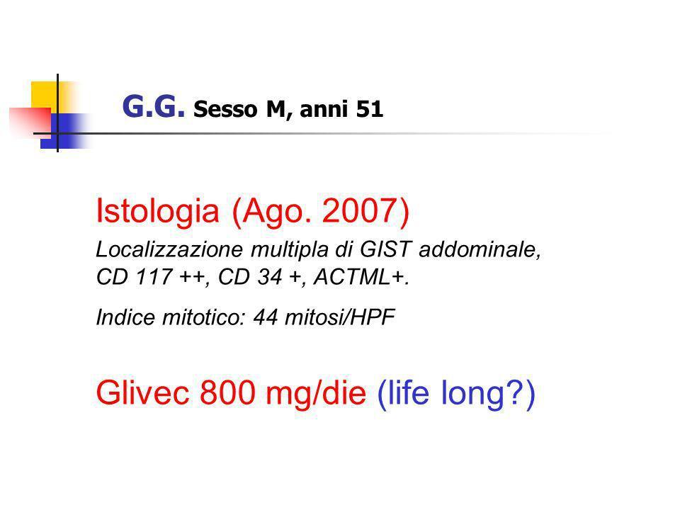 Istologia (Ago. 2007) Localizzazione multipla di GIST addominale, CD 117 ++, CD 34 +, ACTML+. Indice mitotico: 44 mitosi/HPF Glivec 800 mg/die (life l
