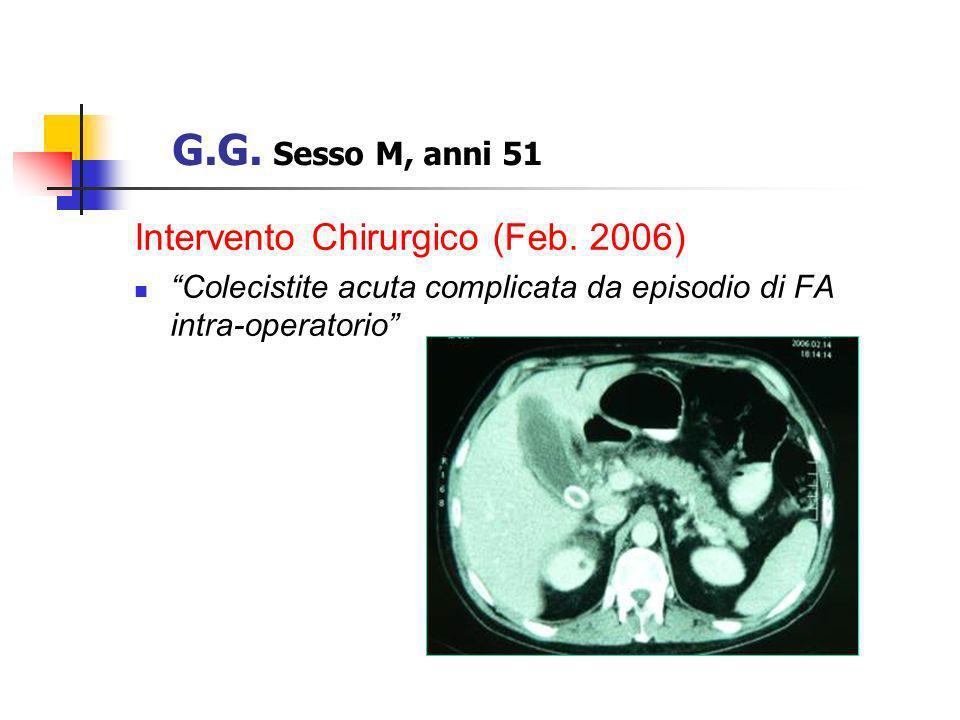 Intervento Chirurgico (Feb. 2006) Colecistite acuta complicata da episodio di FA intra-operatorio G.G. Sesso M, anni 51