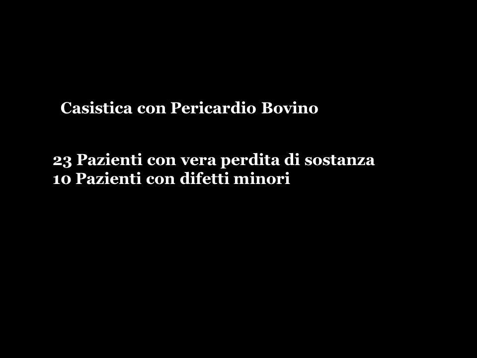 23 Pazienti con vera perdita di sostanza 10 Pazienti con difetti minori Casistica con Pericardio Bovino