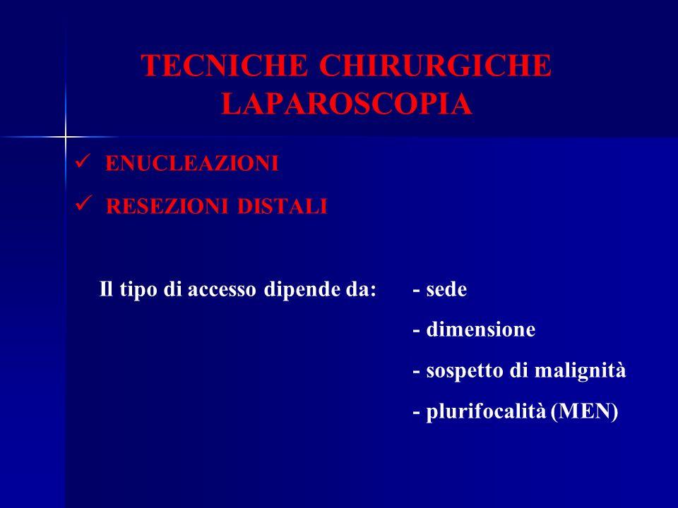 TECNICHE CHIRURGICHE LAPAROSCOPIA ENUCLEAZIONI RESEZIONI DISTALI Il tipo di accesso dipende da: - sede - dimensione - sospetto di malignità - plurifoc