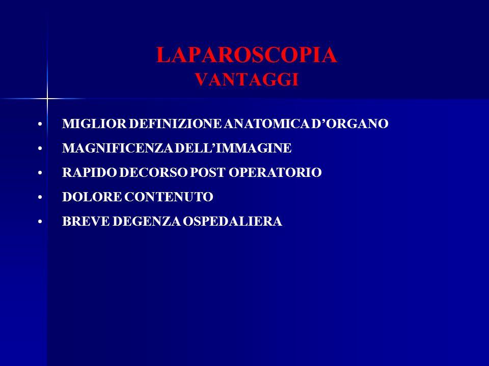LAPAROSCOPIA VANTAGGI MIGLIOR DEFINIZIONE ANATOMICA DORGANO MAGNIFICENZA DELLIMMAGINE RAPIDO DECORSO POST OPERATORIO DOLORE CONTENUTO BREVE DEGENZA OS