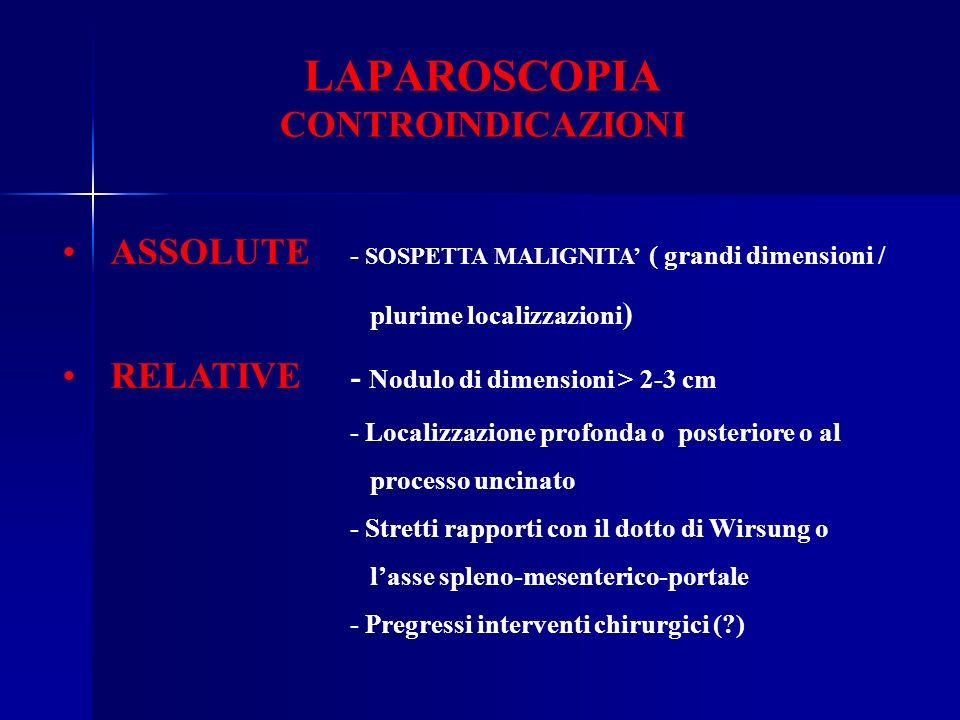 LAPAROSCOPIA CONTROINDICAZIONI ASSOLUTE - SOSPETTA MALIGNITA ( grandi dimensioni / plurime localizzazioni ) RELATIVE - Nodulo di dimensioni > 2-3 cm -
