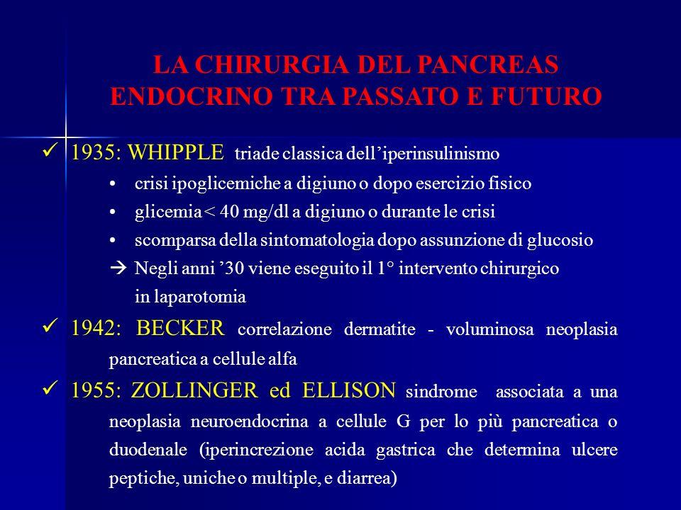 LA CHIRURGIA DEL PANCREAS ENDOCRINO TRA PASSATO E FUTURO 1935: WHIPPLE triade classica delliperinsulinismo crisi ipoglicemiche a digiuno o dopo eserci