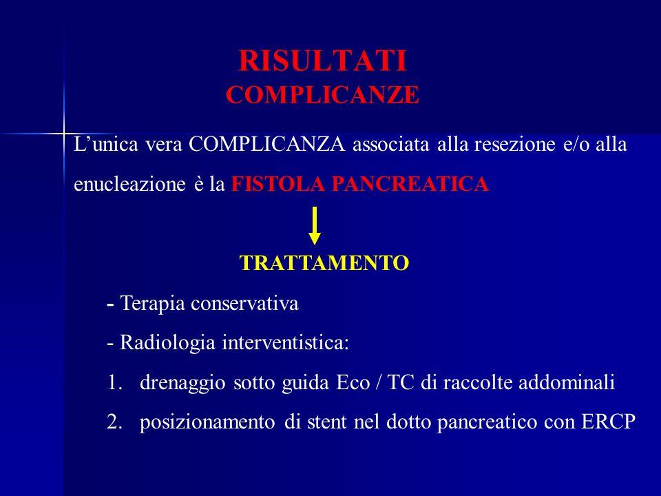RISULTATI COMPLICANZE Lunica vera COMPLICANZA associata alla resezione e/o alla enucleazione è la FISTOLA PANCREATICA TRATTAMENTO - Terapia conservati