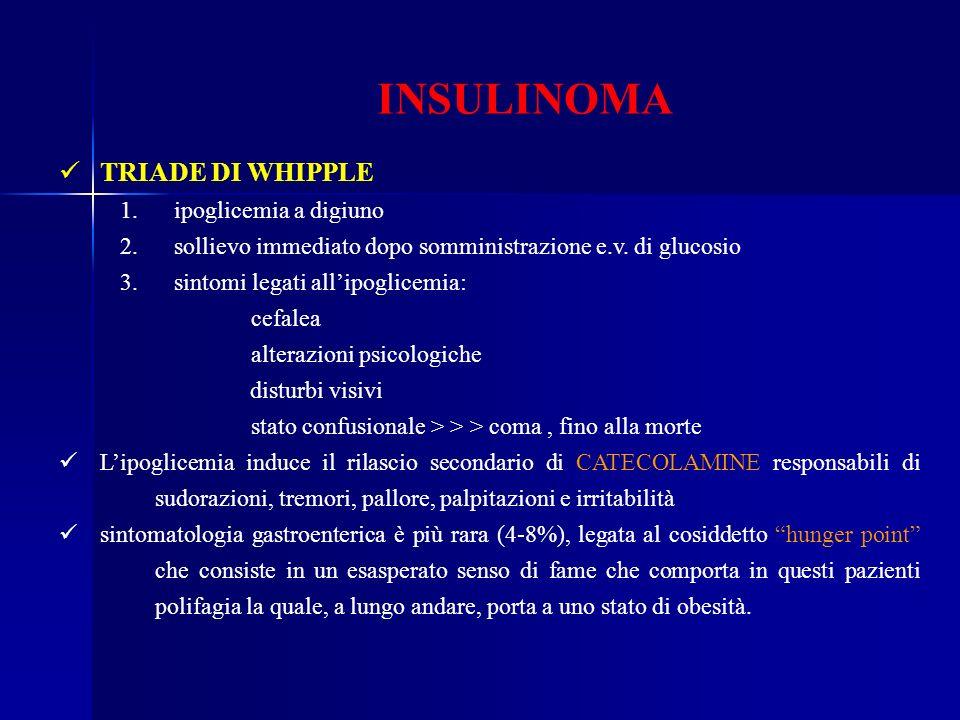 INSULINOMA TRIADE DI WHIPPLE 1. ipoglicemia a digiuno 2. sollievo immediato dopo somministrazione e.v. di glucosio 3. sintomi legati allipoglicemia: c