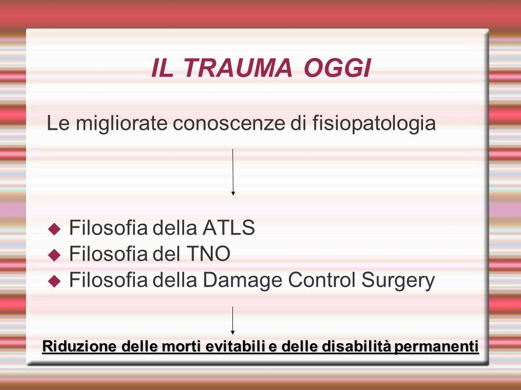 Le migliorate conoscenze di fisiopatologia Filosofia della ATLS Filosofia del TNO Filosofia della Damage Control Surgery Riduzione delle morti evitabili e delle disabilità permanenti