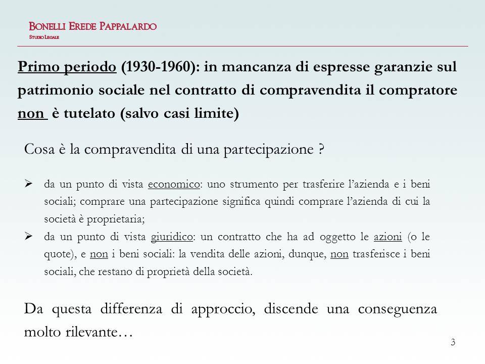 4 Avendo la vendita di una partecipazione ad oggetto le azioni (e non i beni sociali), il compratore non può invocare le garanzie legali (art.