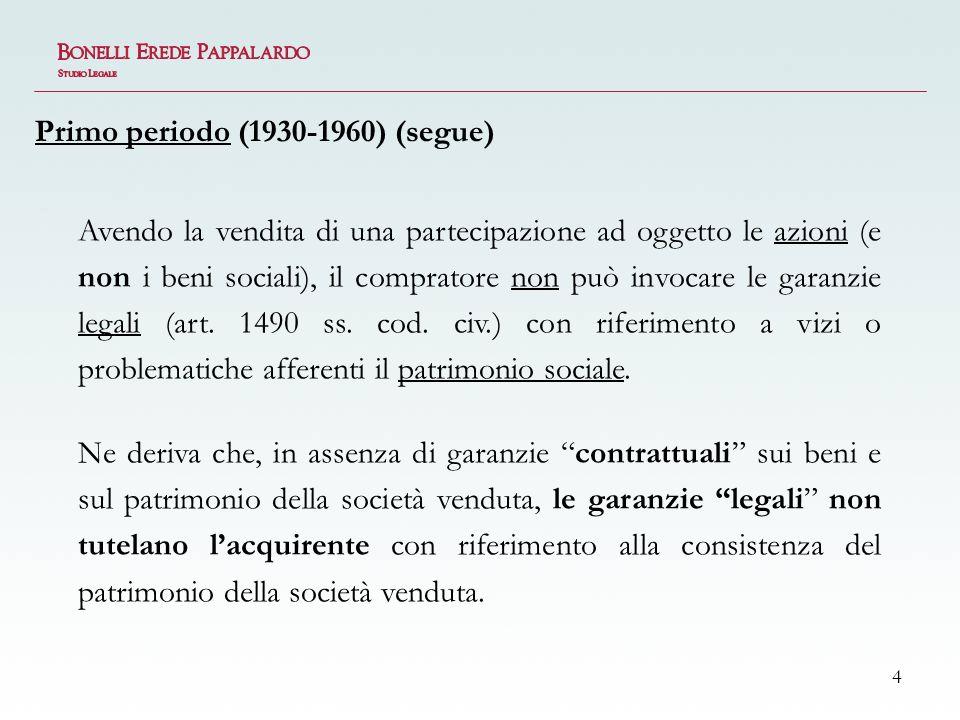 5 In assenza di espresse garanzie contrattuali sui beni sociali, nel primo periodo la giurisprudenza ha riconosciuto tutela al compratore solo in alcuni casi limite: dolo del venditore; aliud pro alio; presupposizione.