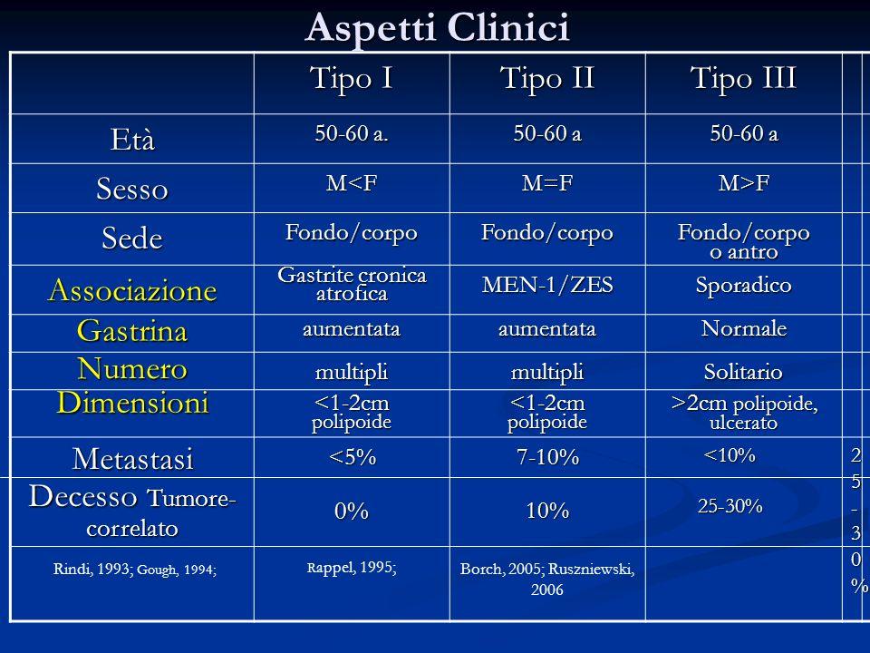 Diagnostica Biochimica NETs Gastrici Diagnostica Biochimica NETs Gastrici Gastrina a digiuno Gastrina Gastrina pH >4 pH <1 Tipo I Tipo II Tipo III