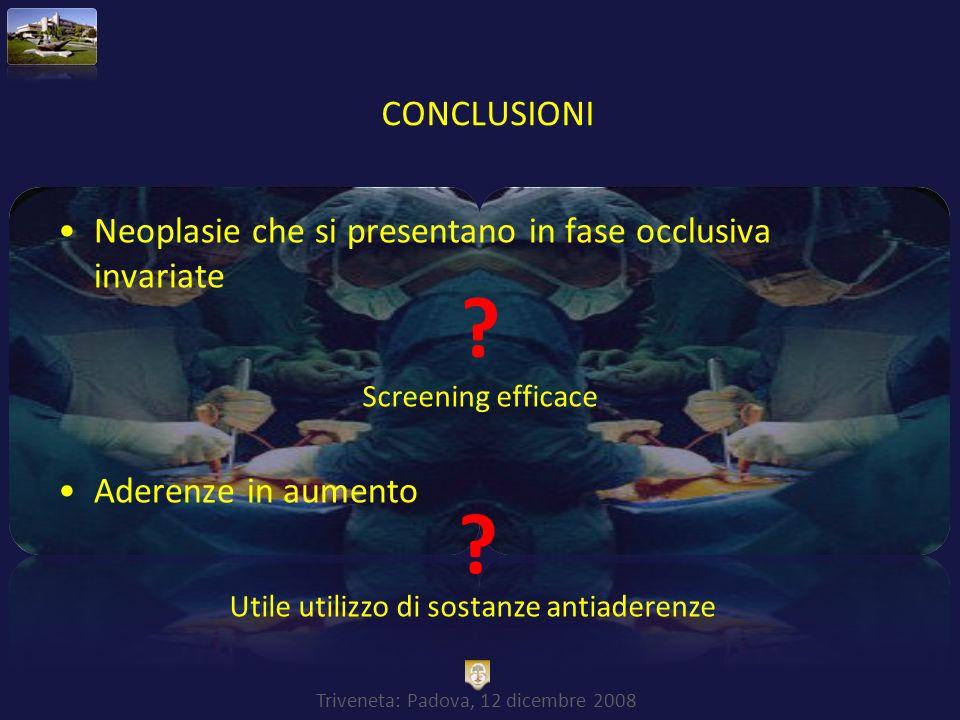 Triveneta: Padova, 12 dicembre 2008 Neoplasie che si presentano in fase occlusiva invariate Aderenze in aumento Screening efficace ? Utile utilizzo di