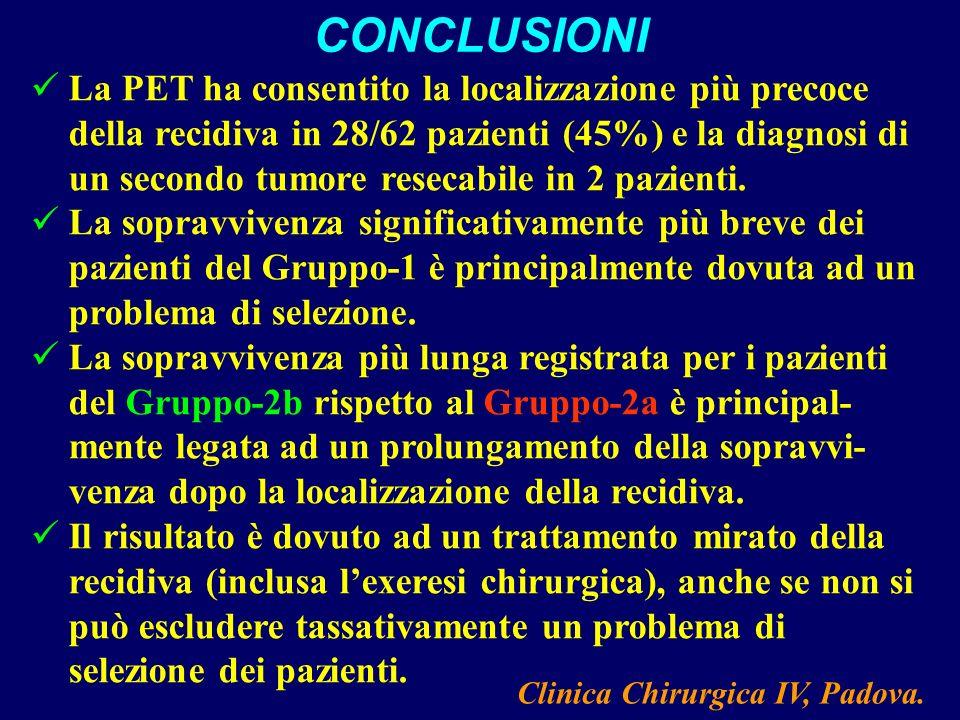 La PET ha consentito la localizzazione più precoce della recidiva in 28/62 pazienti (45%) e la diagnosi di un secondo tumore resecabile in 2 pazienti.
