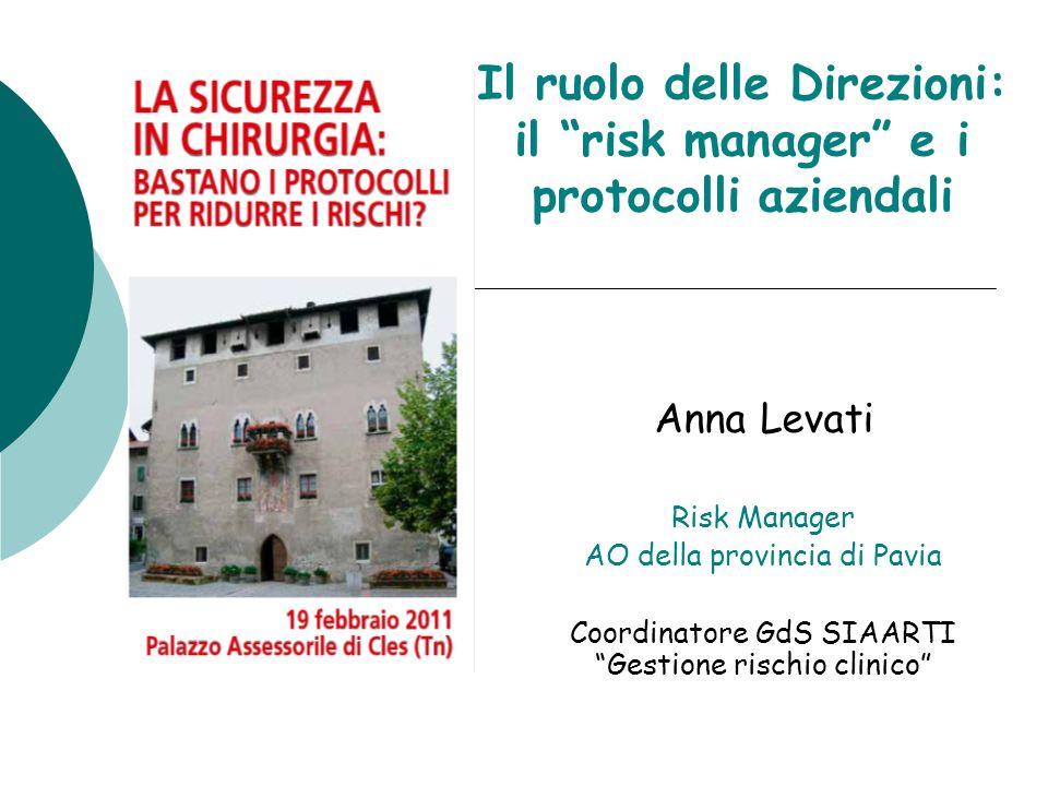Il ruolo delle Direzioni: il risk manager e i protocolli aziendali Anna Levati Risk Manager AO della provincia di Pavia Coordinatore GdS SIAARTI Gesti
