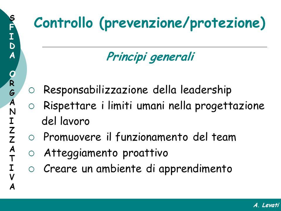 Controllo (prevenzione/protezione) Principi generali Responsabilizzazione della leadership Rispettare i limiti umani nella progettazione del lavoro Pr
