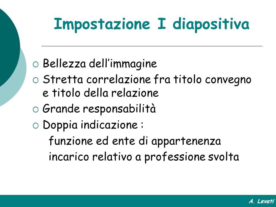 Impostazione I diapositiva Bellezza dellimmagine Stretta correlazione fra titolo convegno e titolo della relazione Grande responsabilità Doppia indica