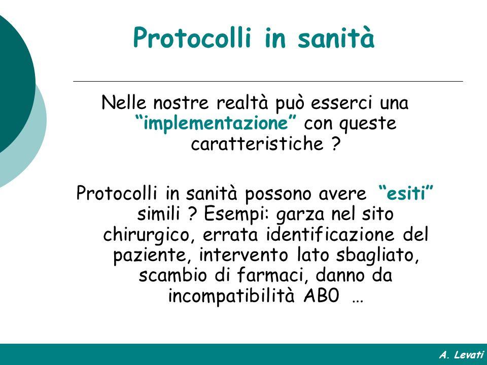 Protocolli in sanità Nelle nostre realtà può esserci una implementazione con queste caratteristiche ? Protocolli in sanità possono avere esiti simili