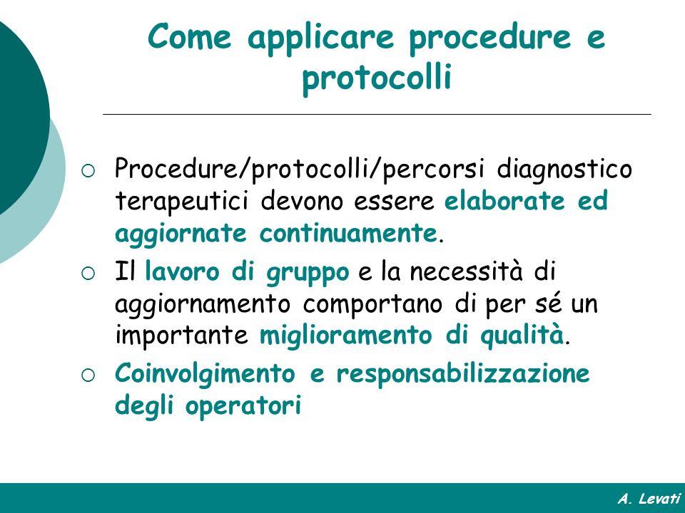 Come applicare procedure e protocolli Procedure/protocolli/percorsi diagnostico terapeutici devono essere elaborate ed aggiornate continuamente. Il la