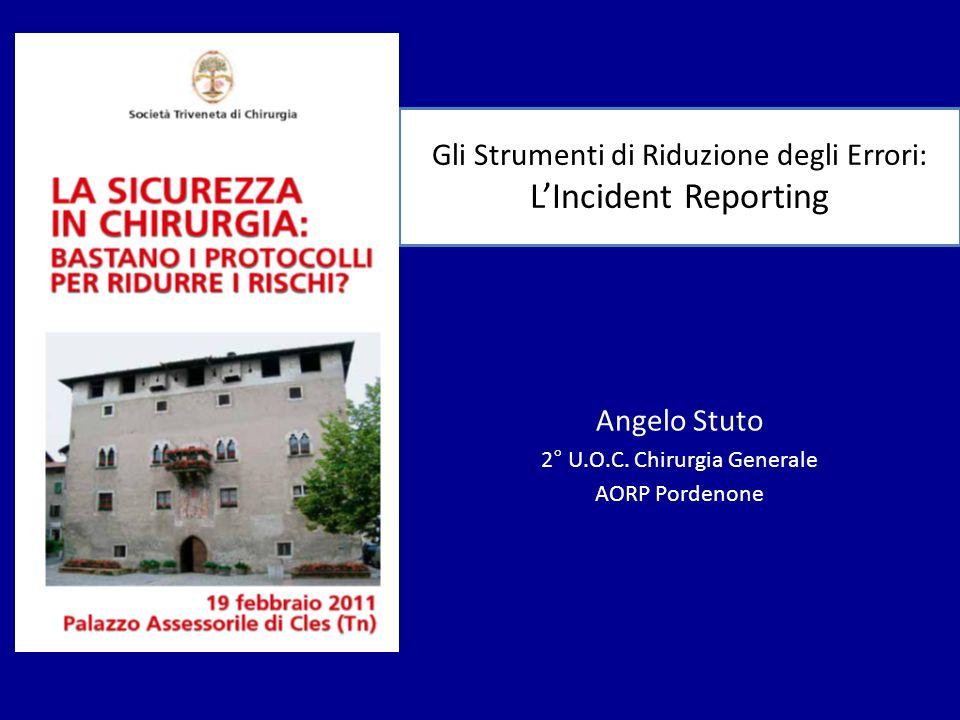 Gli Strumenti di Riduzione degli Errori: LIncident Reporting Angelo Stuto 2° U.O.C. Chirurgia Generale AORP Pordenone