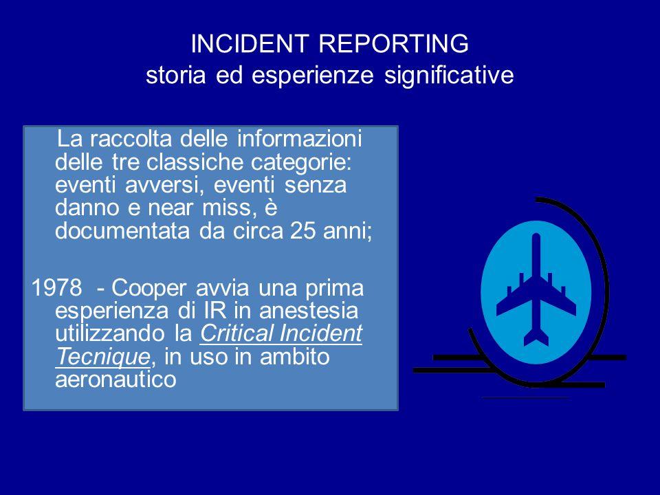 INCIDENT REPORTING storia ed esperienze significative La raccolta delle informazioni delle tre classiche categorie: eventi avversi, eventi senza danno