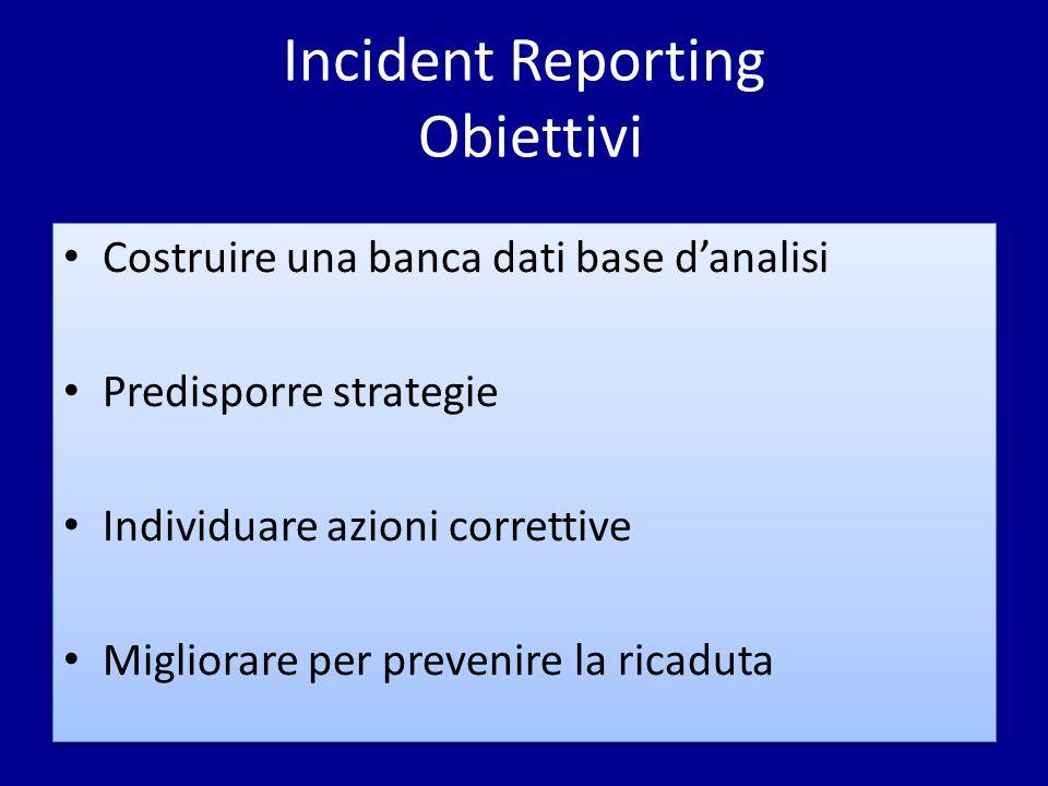 Incident Reporting Obiettivi Costruire una banca dati base danalisi Predisporre strategie Individuare azioni correttive Migliorare per prevenire la ri