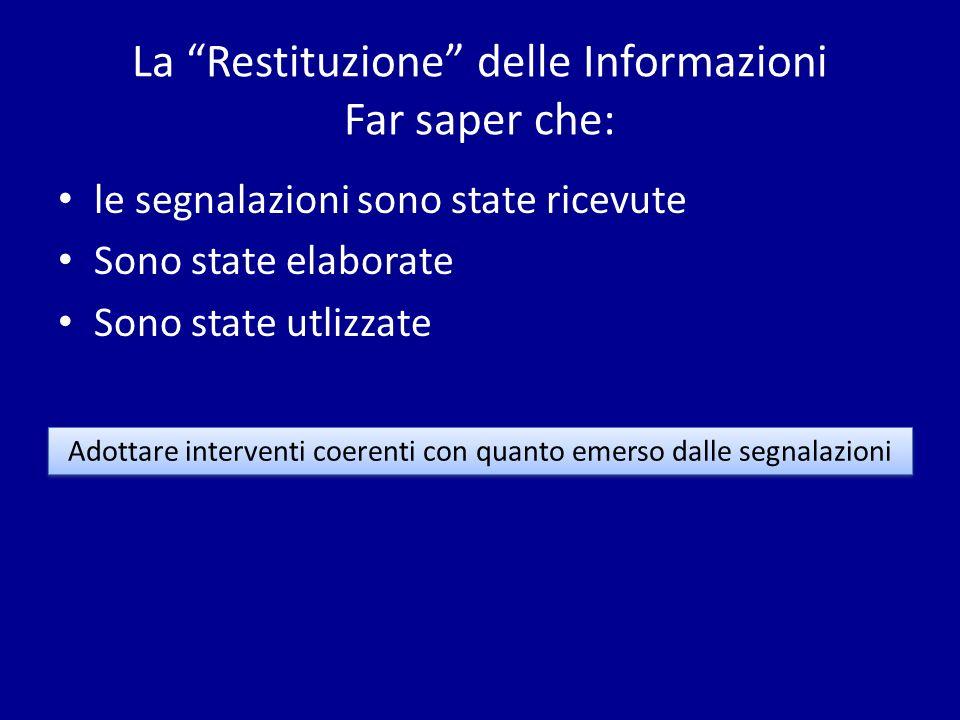 La Restituzione delle Informazioni Far saper che: le segnalazioni sono state ricevute Sono state elaborate Sono state utlizzate Adottare interventi co