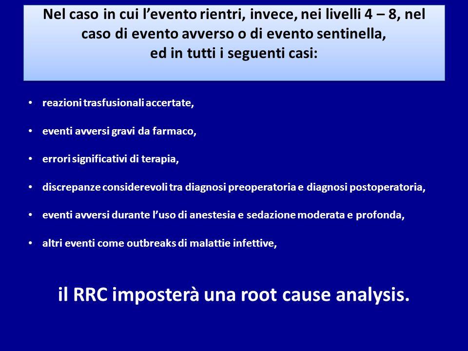 Nel caso in cui levento rientri, invece, nei livelli 4 – 8, nel caso di evento avverso o di evento sentinella, ed in tutti i seguenti casi: reazioni t