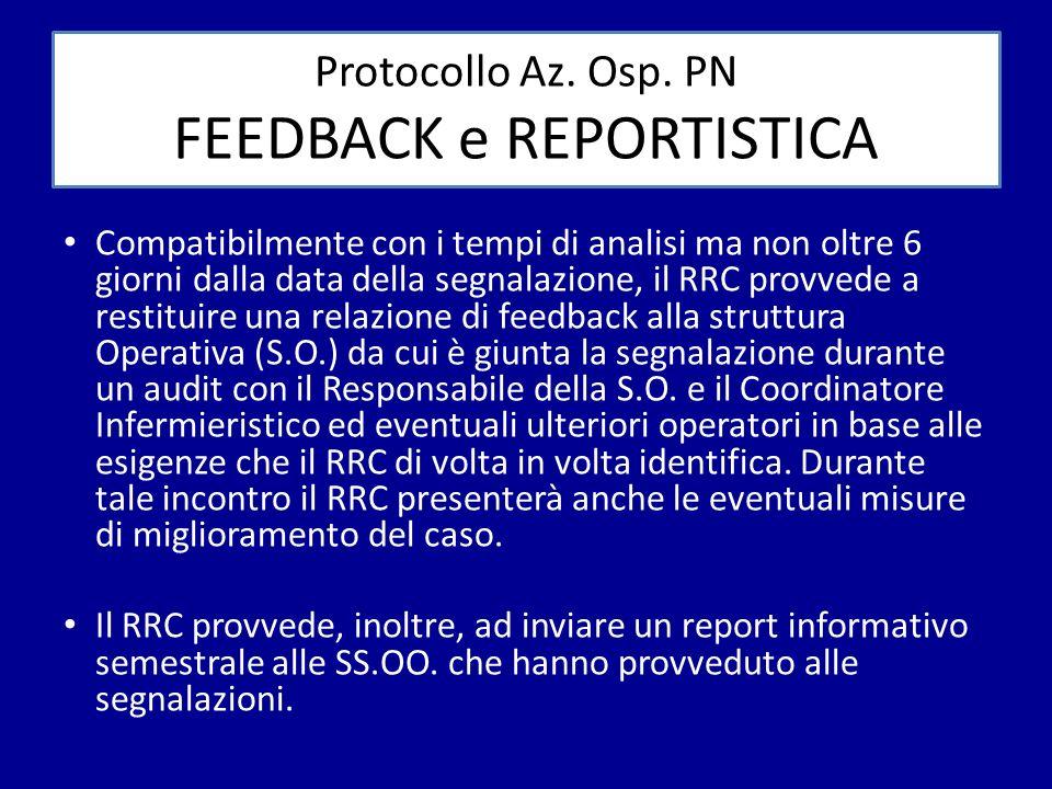 Protocollo Az. Osp. PN FEEDBACK e REPORTISTICA Compatibilmente con i tempi di analisi ma non oltre 6 giorni dalla data della segnalazione, il RRC prov