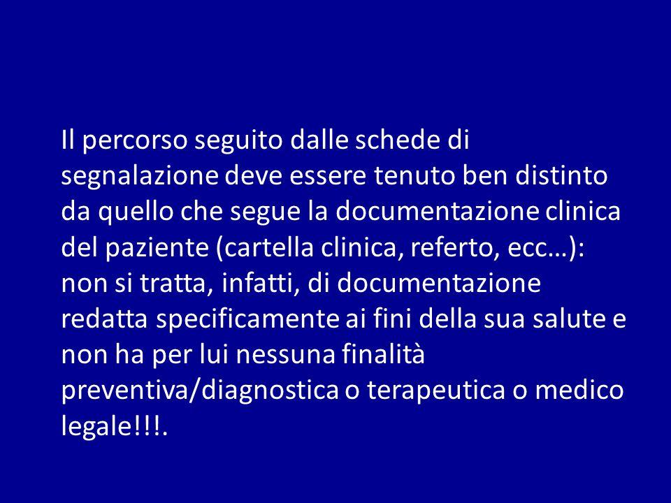 Il percorso seguito dalle schede di segnalazione deve essere tenuto ben distinto da quello che segue la documentazione clinica del paziente (cartella