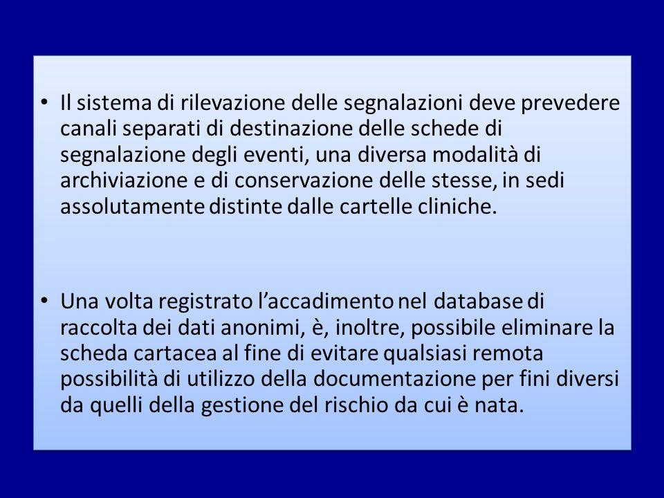 Il sistema di rilevazione delle segnalazioni deve prevedere canali separati di destinazione delle schede di segnalazione degli eventi, una diversa mod