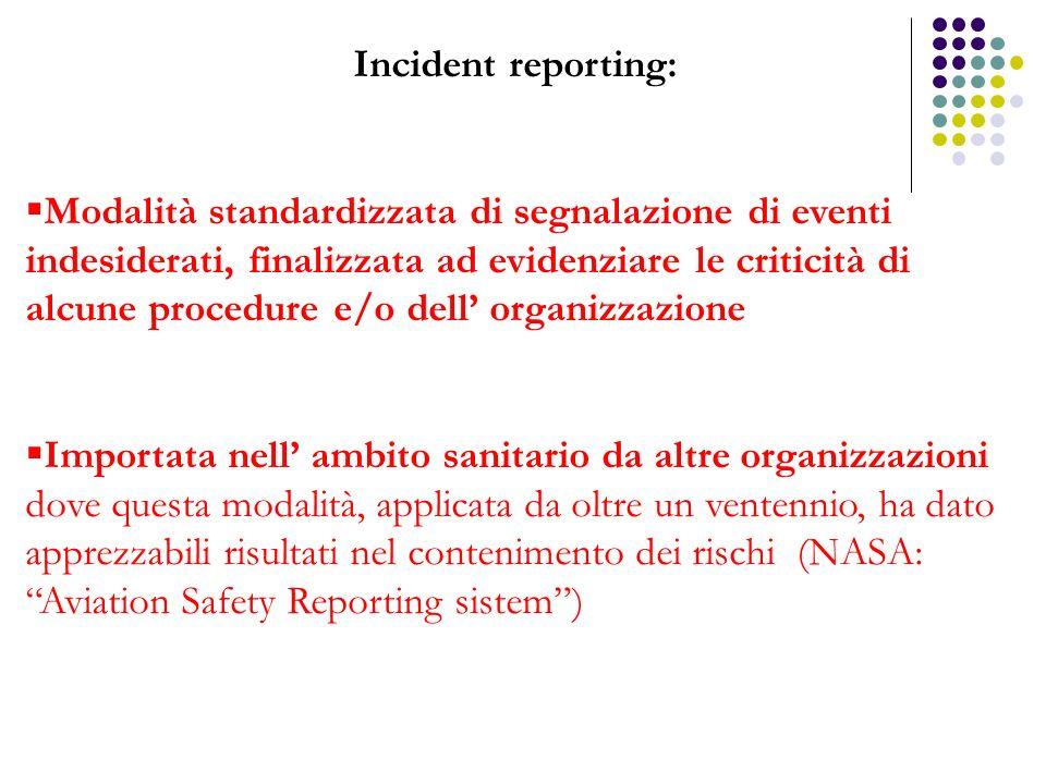 Incident reporting: Modalità standardizzata di segnalazione di eventi indesiderati, finalizzata ad evidenziare le criticità di alcune procedure e/o de