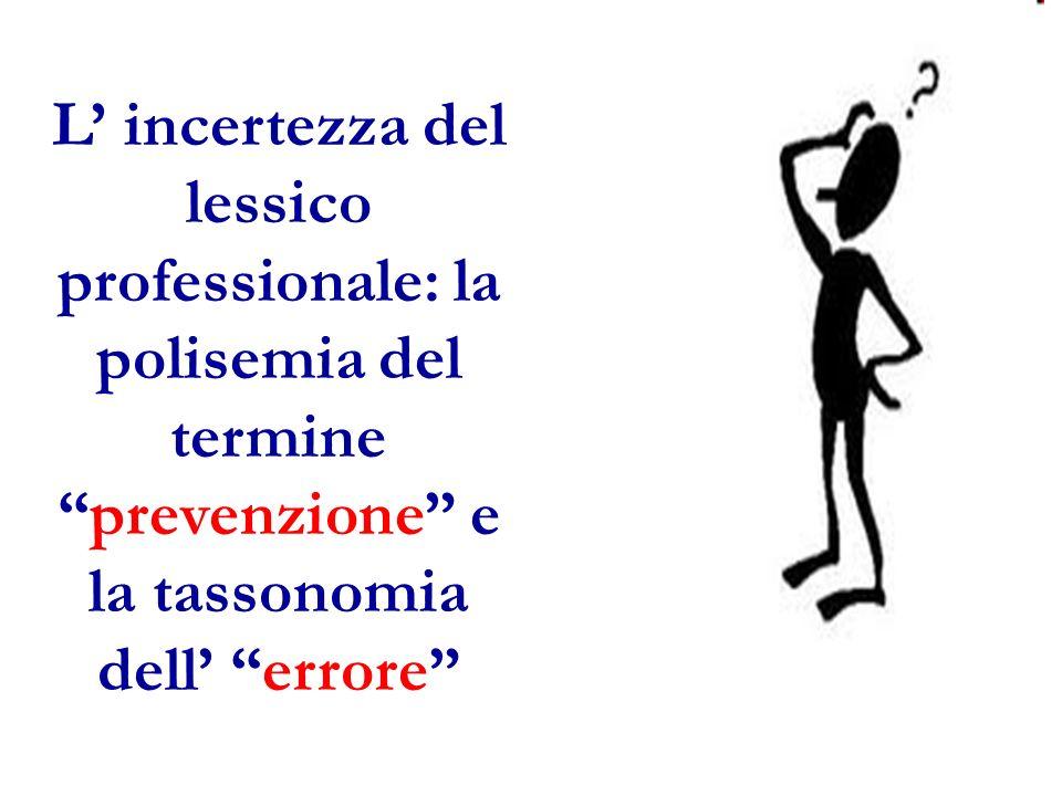 L incertezza del lessico professionale: la polisemia del termineprevenzione e la tassonomia dell errore